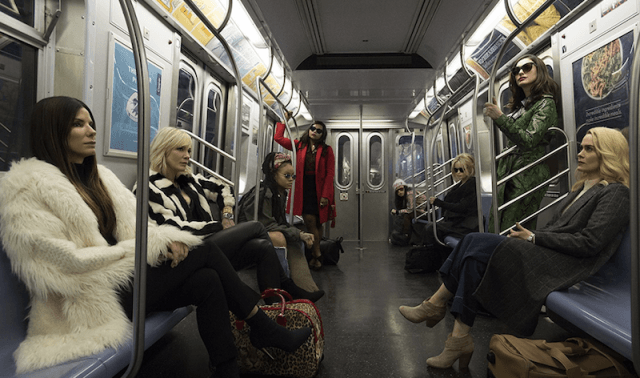 The cast of 'Ocean's 8' in a subway.