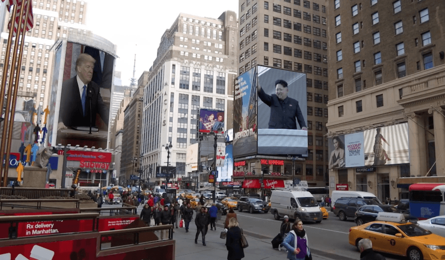 Images of Donald Trump and Kim Jong Un in Times Square