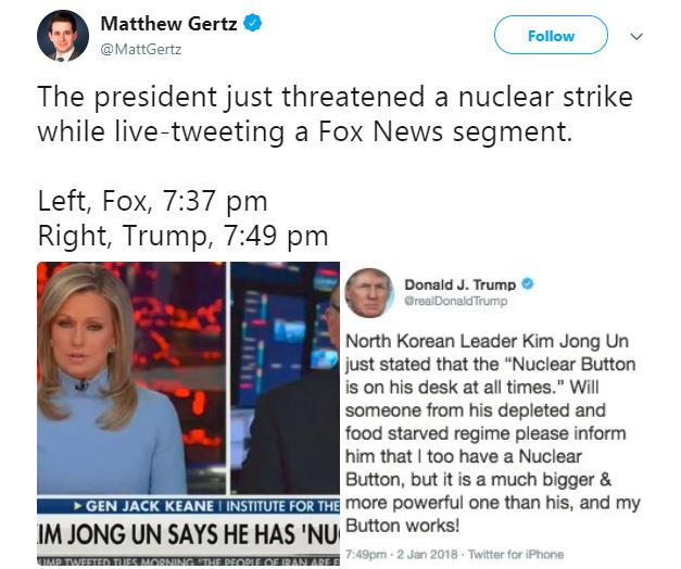 """Trump on the """"nuclear button"""" tweet."""