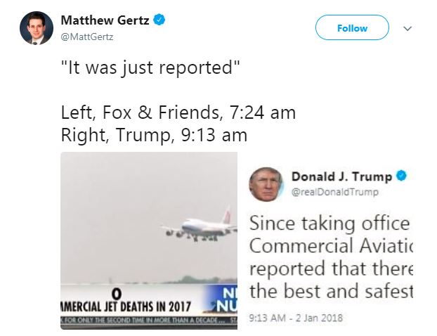 Trump on commercial airline deaths tweet.