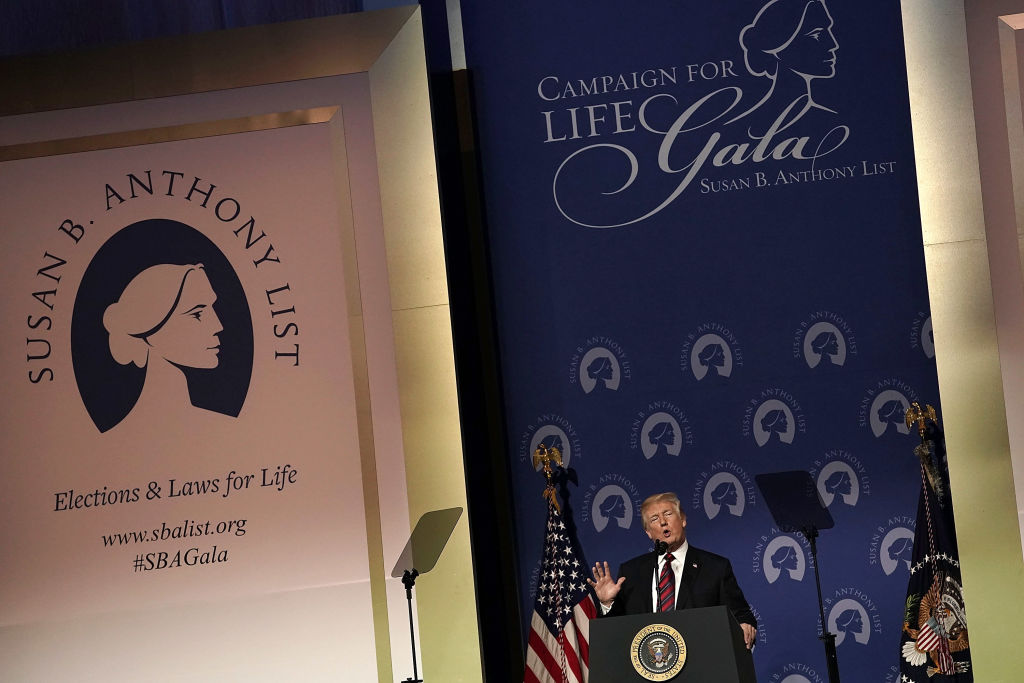 Trump speaks during the Susan B. Anthony List's 11th annual Campaign for Life Gala