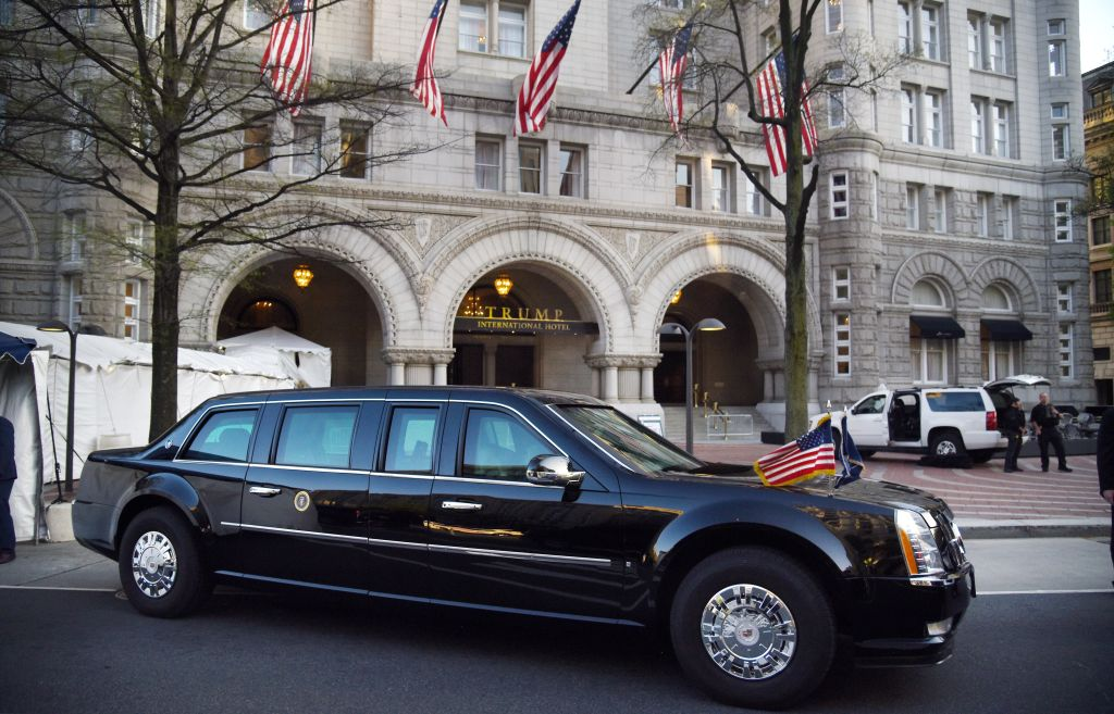 Presidential Limo AKA 'The Beast' in front of Trump hotel