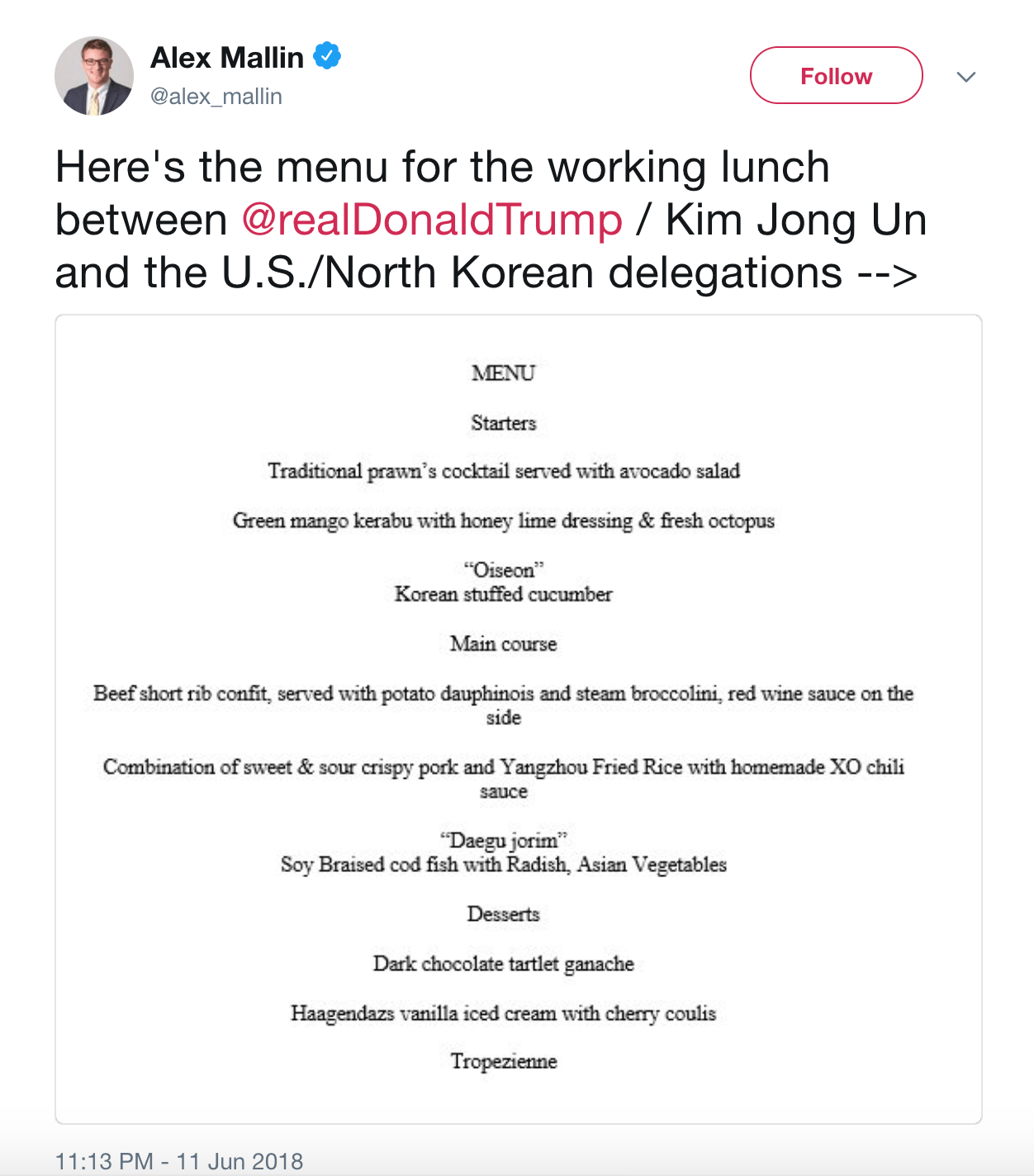 Tweet menu trump kim
