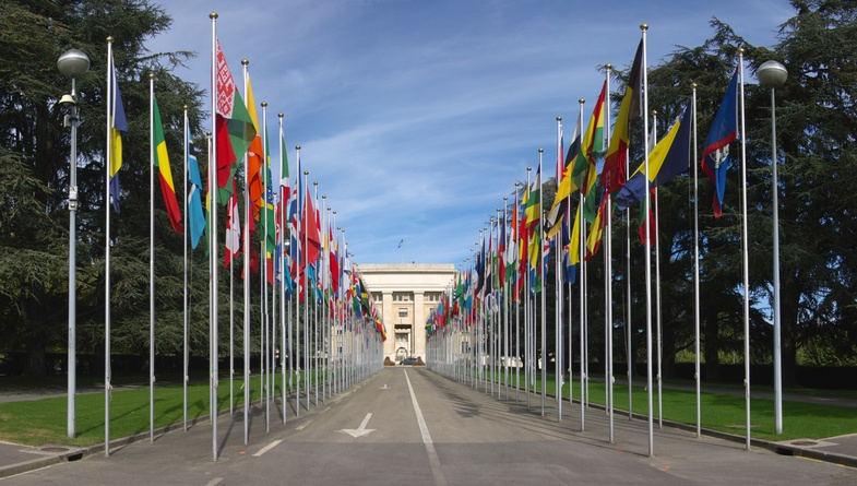 Flags fly at the entrance to the U.N. in Geneva, Switzerland.
