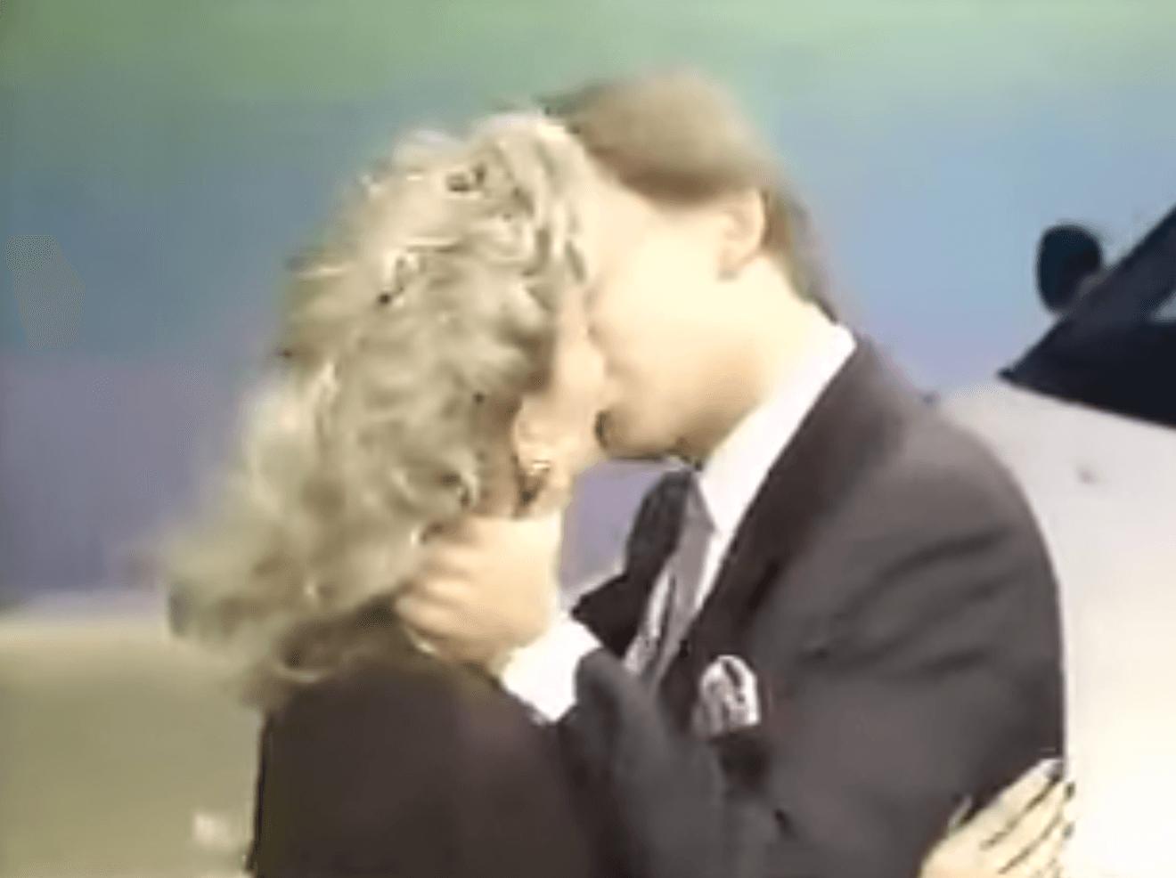 Vanna White and Pat Sajak kissing