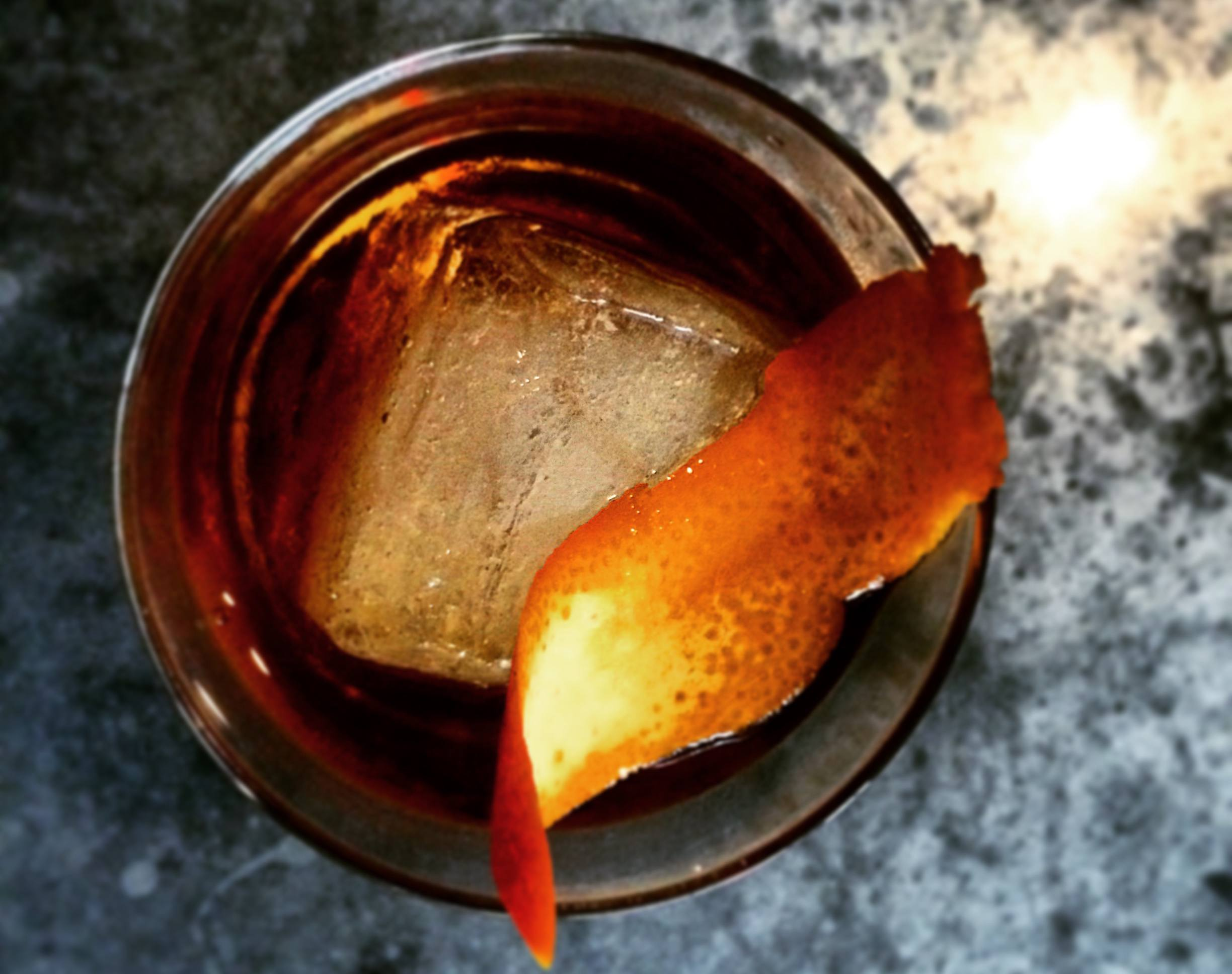 Whiskey Cocktail with Orange Peel