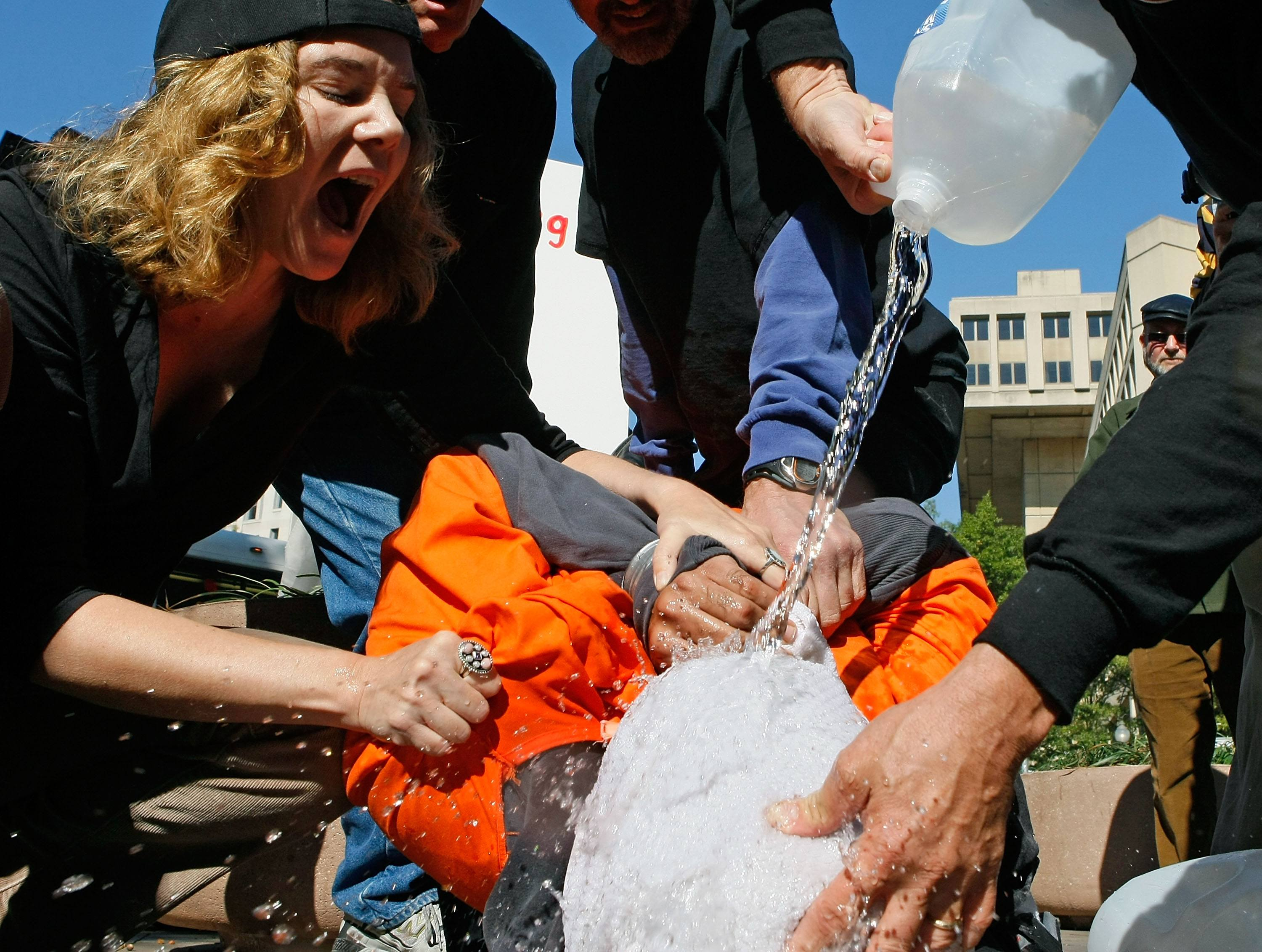 """Anti-torture Protestors Hold Demonstration Of """"Waterboarding"""""""
