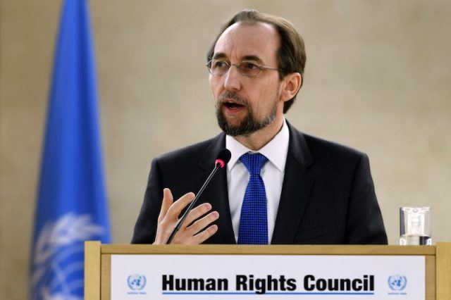 Zeid Ra'ad Zeid al-Hussein gives a speech on the opening of a meeting of the United Nations Human Rights Council.