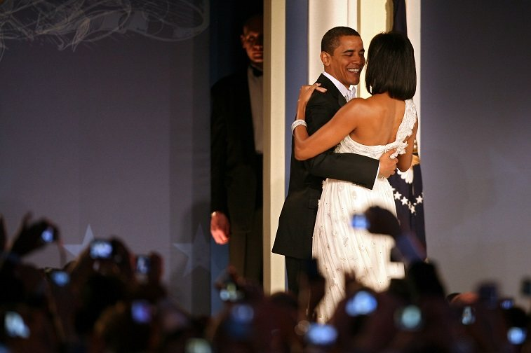 U.S President Barack Obama and his wife First Lady Michelle Obama dance on stage during MTV & ServiceNation: Live From The Youth Inaugural Ball at the Hilton Washington on January 20, 2009 in Washington, DC.
