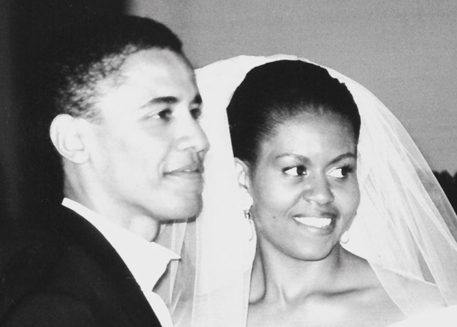Barack and Michelle Obama on their wedding day