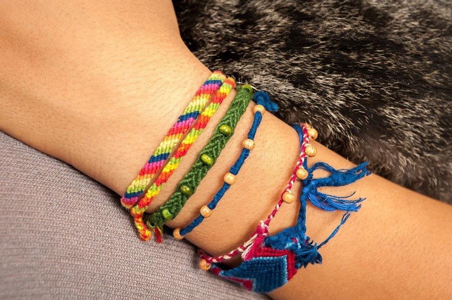 bracelets on a woman's wrist