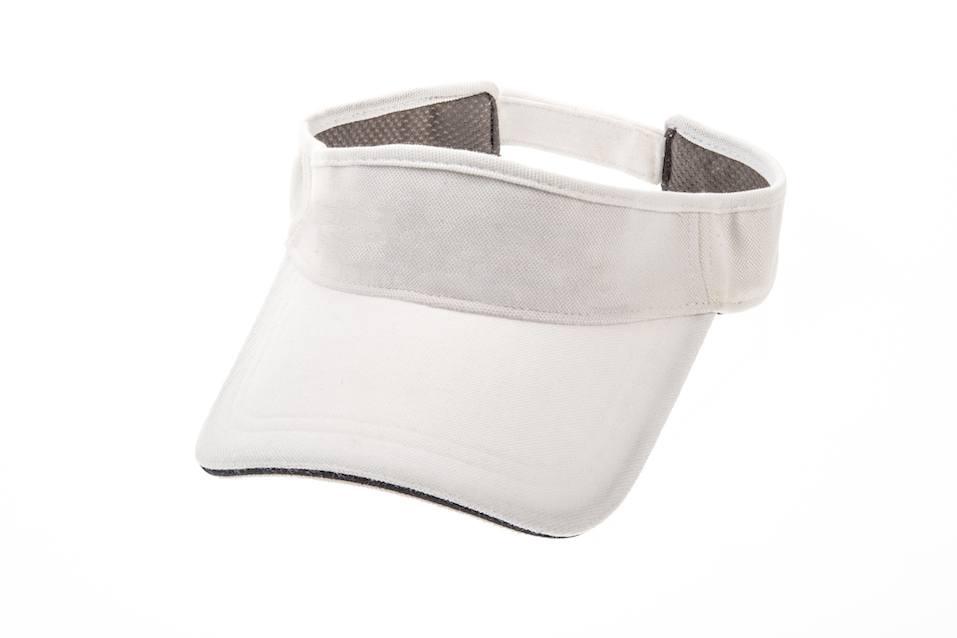 Men's white golf visors on white background