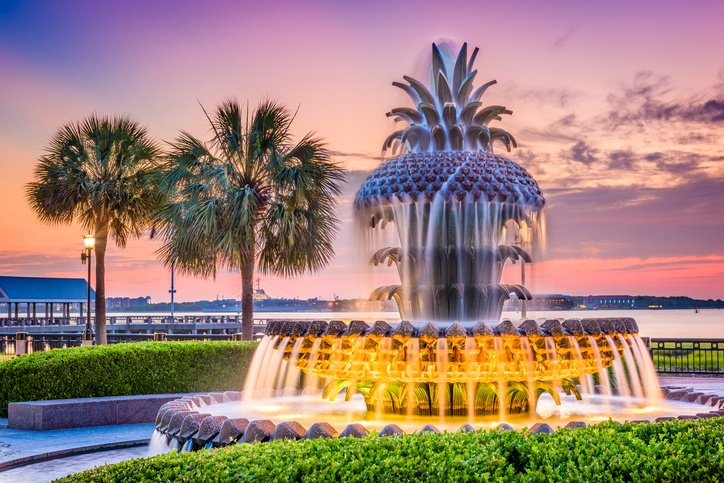 Pineapple Fountain in Charleston, South Carolina