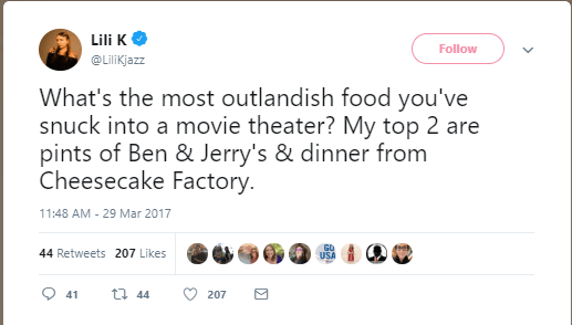 Twitter post about sneaking food into the movie theater