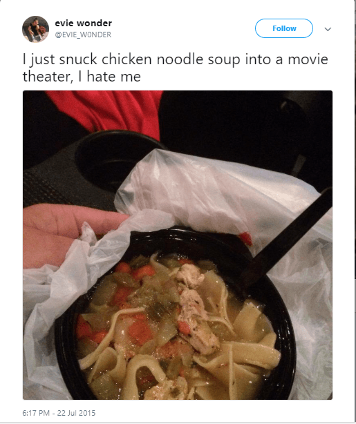 Twitter post about bringing chicken noodle soup to the movies