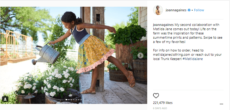 Joanna Gaines writes about her collaboration with Matilda Jane on instagram.