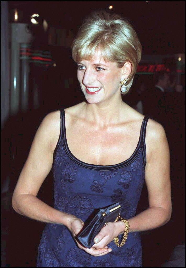 Princess Diana attends the premiere of In Love And War in London.