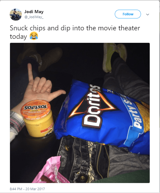 Doritos and queso at the movie theater