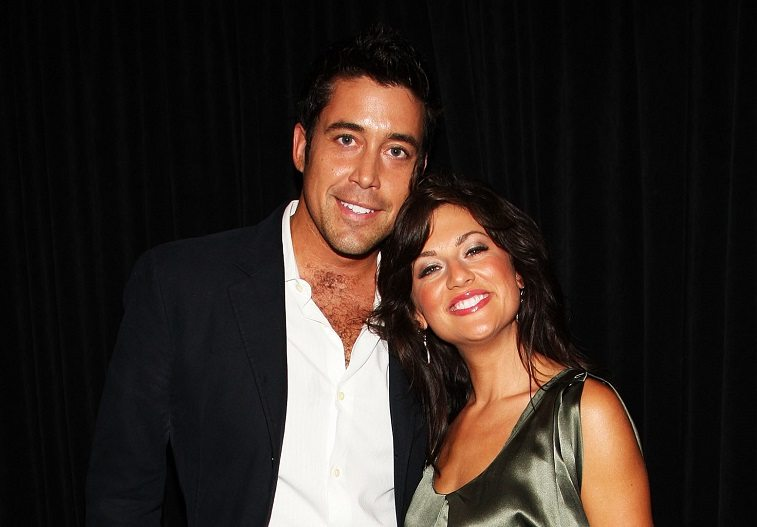 TV personalities Ed Swiderski and Jillian Harris pose at Venexiana Spring 2010 Fashion Show at Bryant Park on September 11, 2009 in New York, New York.