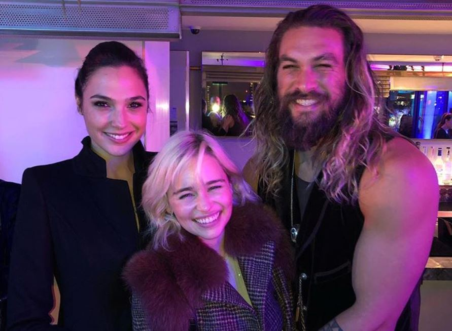 Gal Gadot, Emilia Clarke, and Jason Momoa