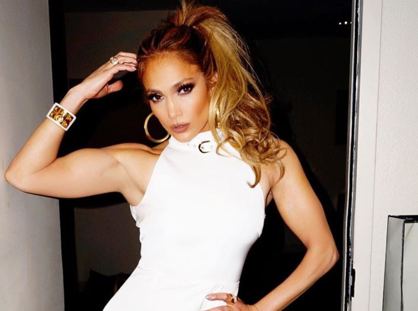 Jennifer Lopez in a white dress