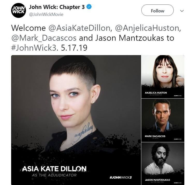 John Wick: Chapter 3 tweet