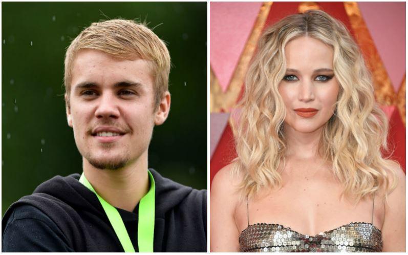 Justin Bieber and Jennifer Lawrence composite image