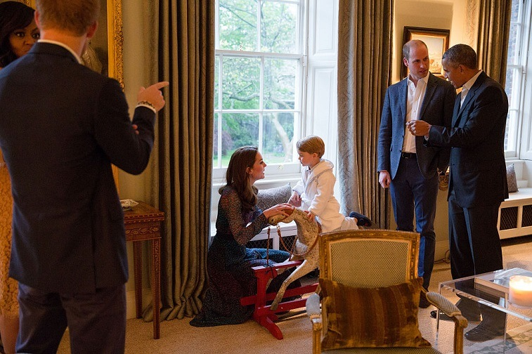 The Obamas with Kate Middleton, Prince George, Prince William, and Prince Harry