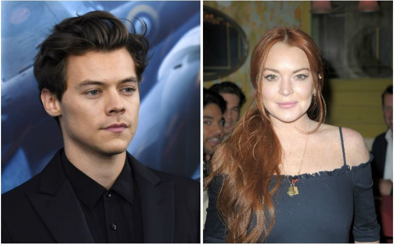 Harry Styles and Lindsay Lohan composite image
