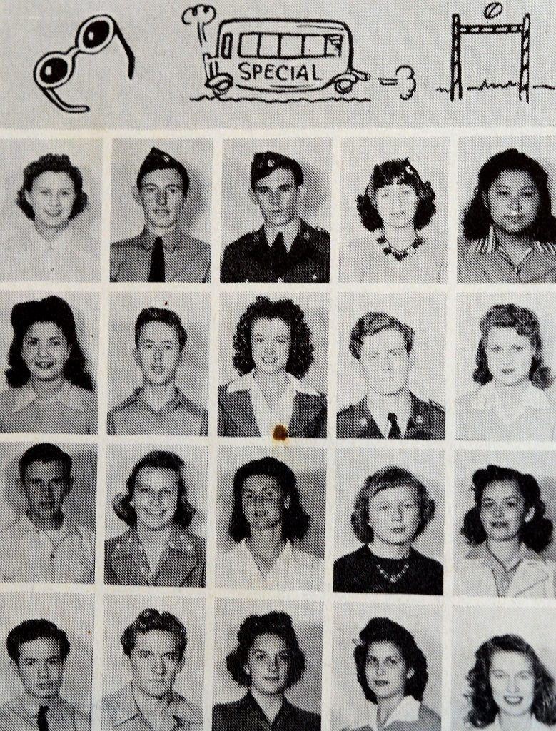 Norma Baker aka Marilyn Monroe pictured second row center