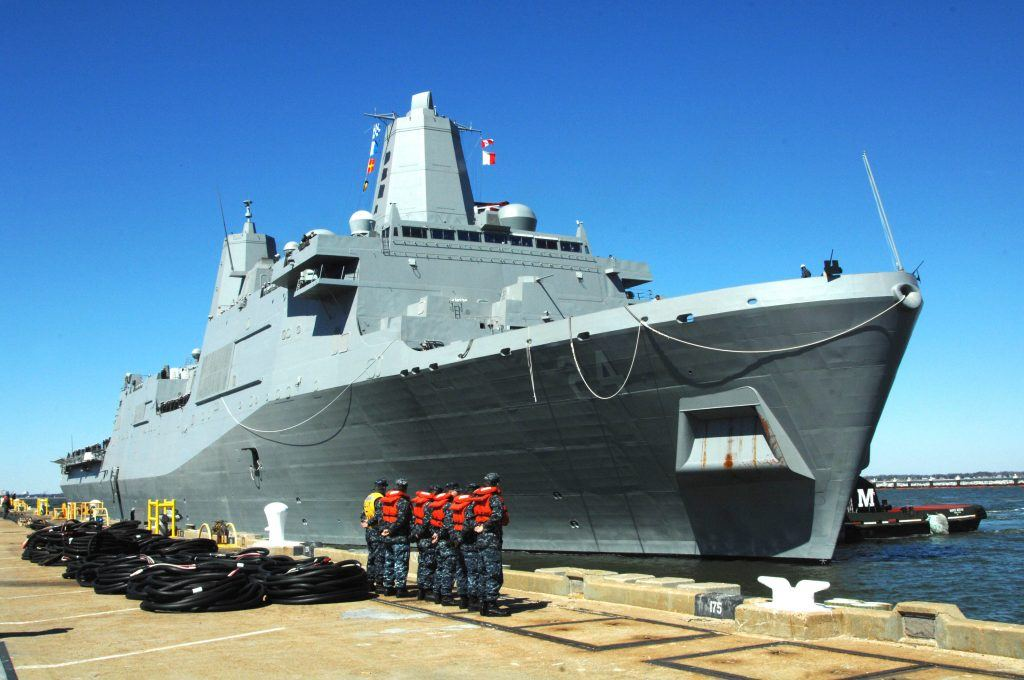 A ship at Naval Station Norfolk,Virgina.