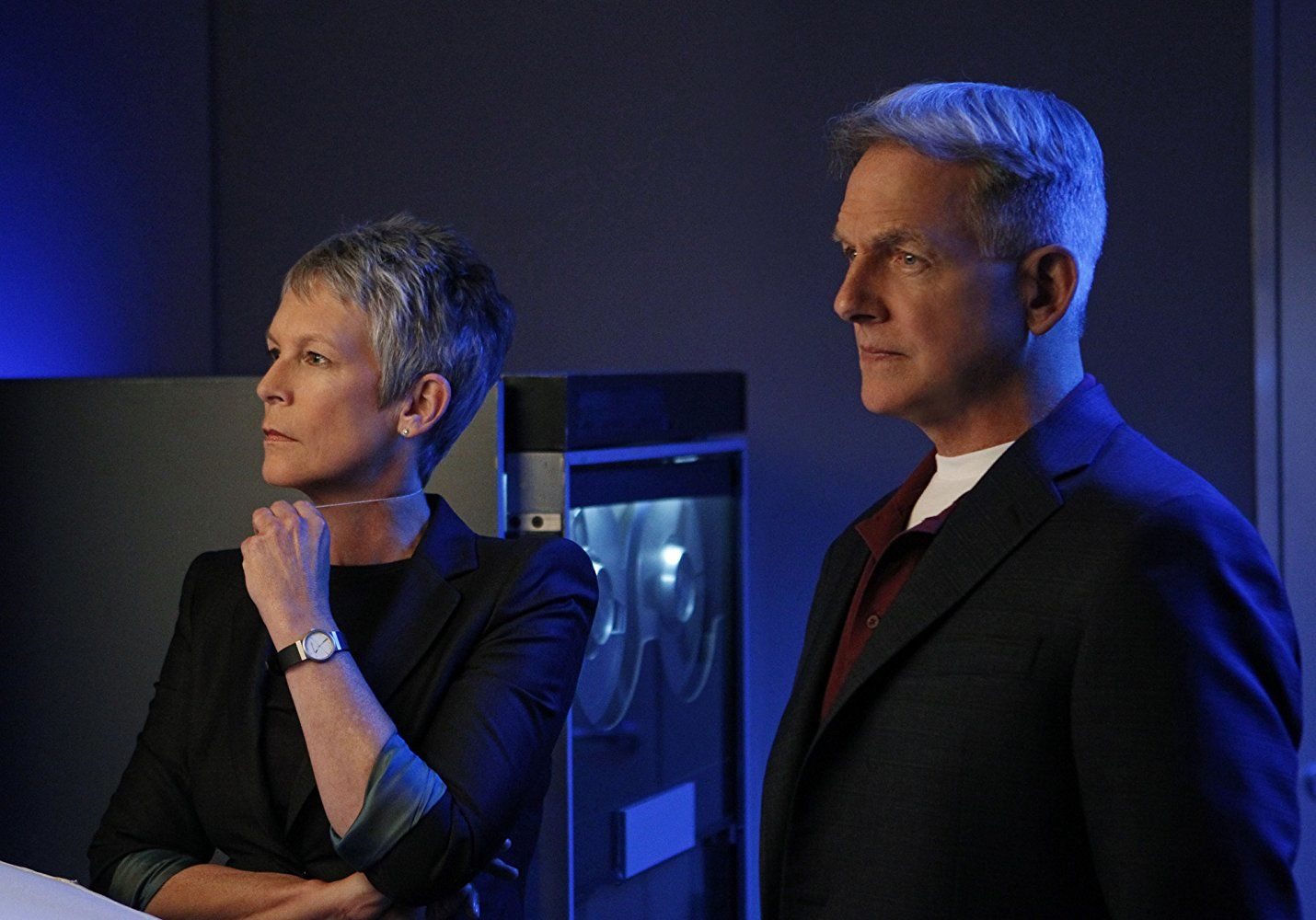 Jamie Lee Curtis and Mark Harmon on NCIS.