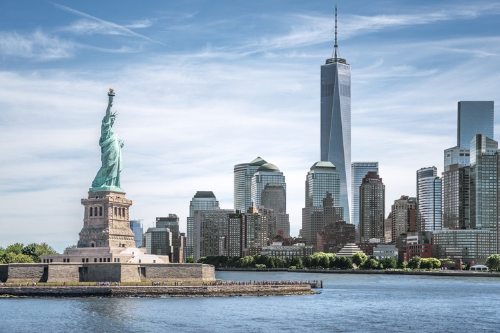 The Statue of Liberty and One World Trade Center in New York City