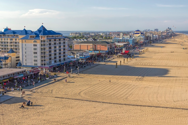 Ocean City, Maryland, view of the boardwalk and beach