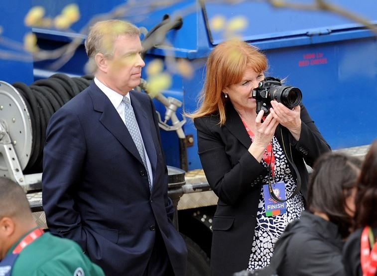 Prince Andrew and Sarah Ferguson attend the Virgin London Marathon on April 25, 2010 in London, England. on April 25, 2010 in London, England.