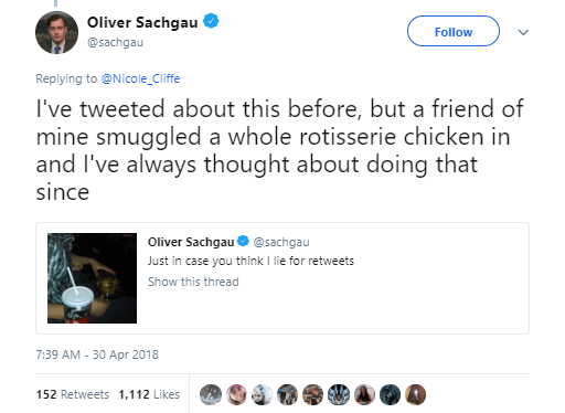 Twitter post about sneaking a rotisserie chicken into the movie theater