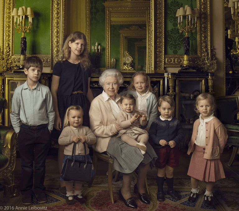 Queen Elizabeth and her grandchildren and great-grandchildren