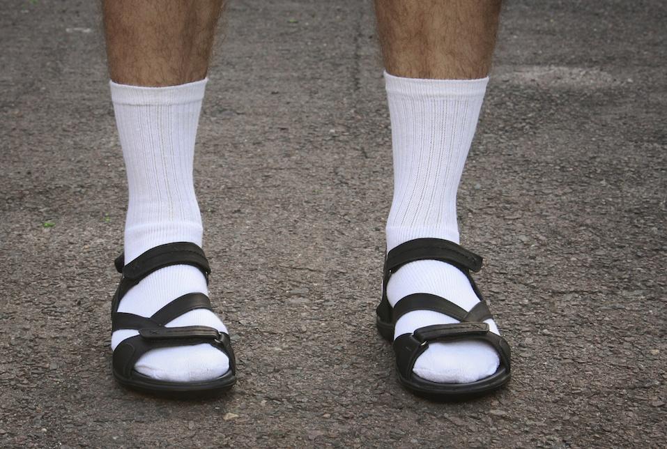 white socks and sandals