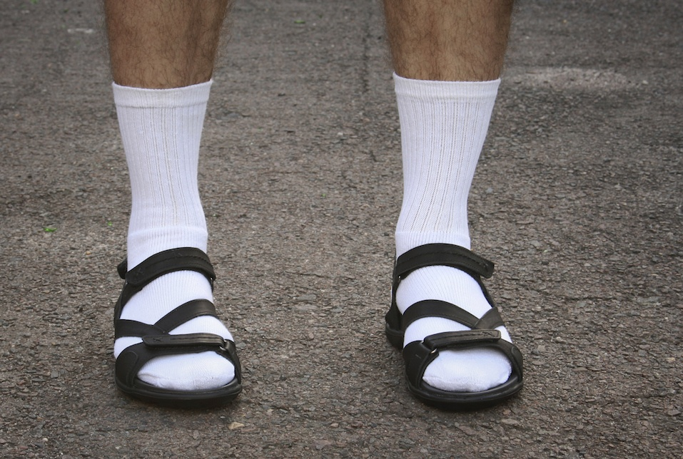 white socks and sandals