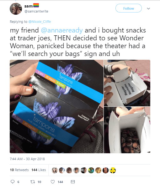 Twitter user showing how they hide snacks