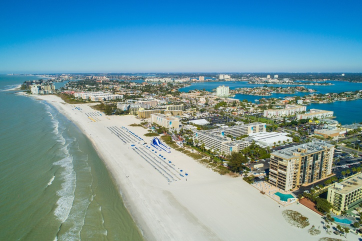 Aerial view of the beach in St. Petersburg, Florida