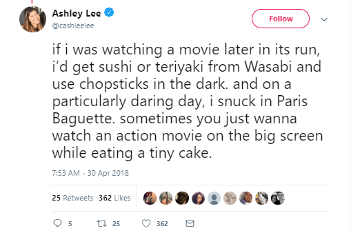Twitter post about sneaking food into the movies