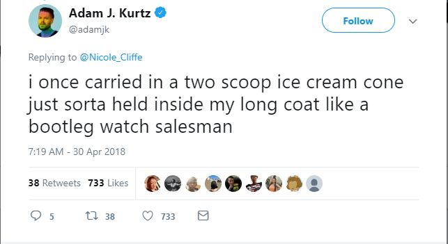A tweet about bringing ice cream in a movie theater