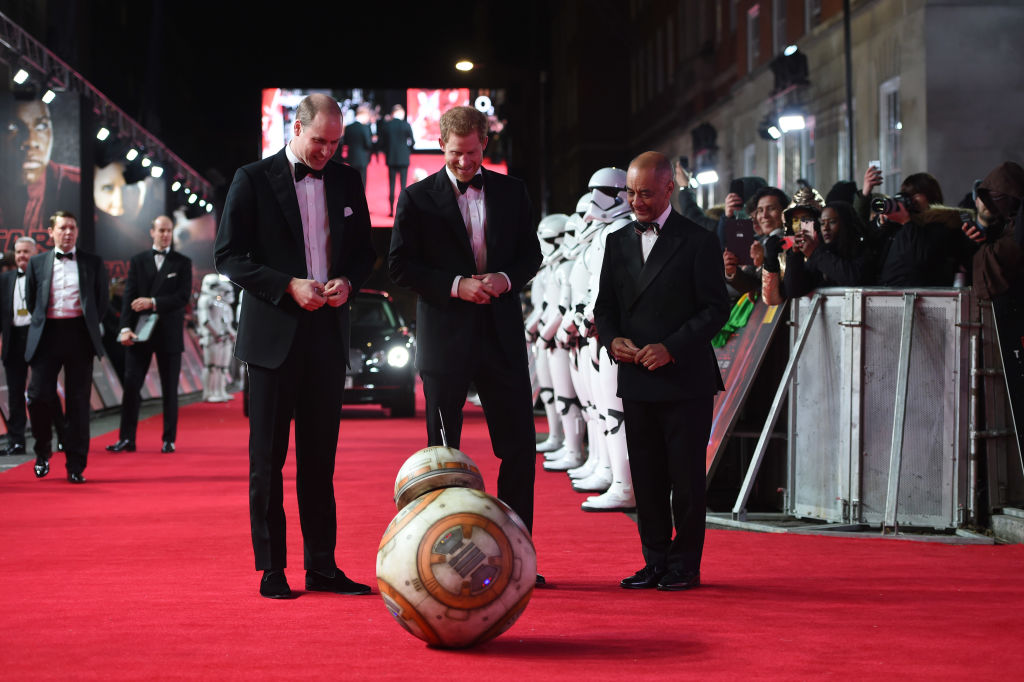 "Prince William and Prince Harry attend the European premiere of ""Star Wars: The Last Jedi."""