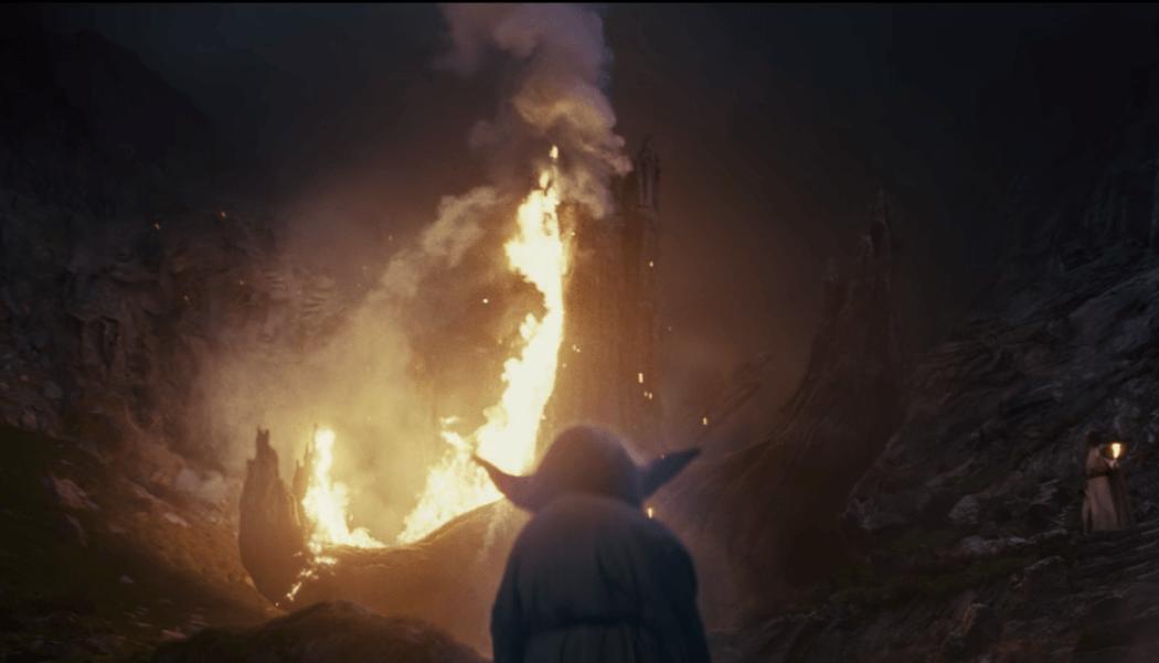 Yoda summons lightning to burn the tree