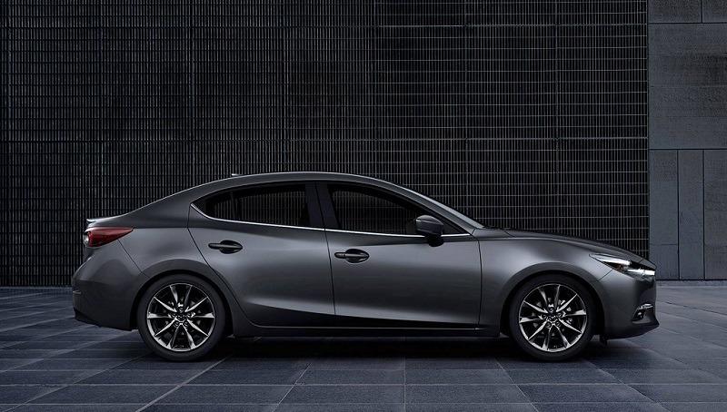 Profile view of gray Mazda3
