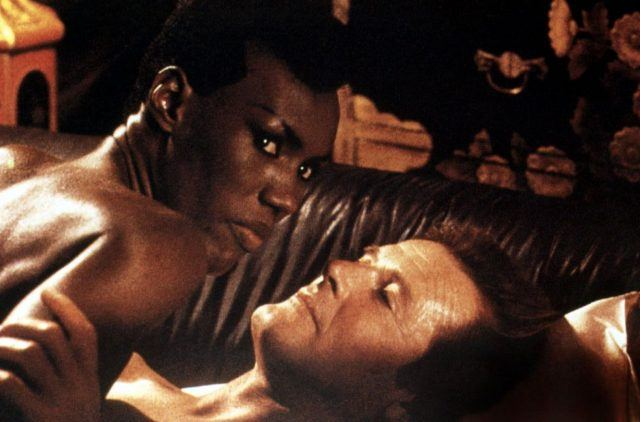 """Roger Moore and Grace Jones in """"A View To Kill"""""""
