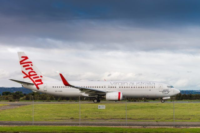 A Virgin Australia plane ready to take off from the Adelaide Airport, South Australia