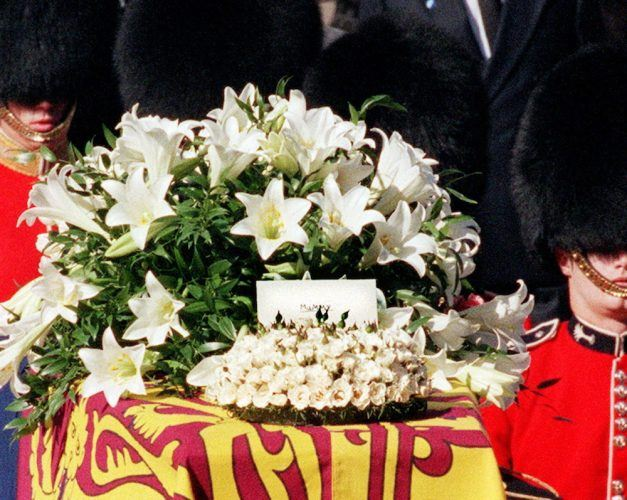 A card addressed 'Mummy' stands on the coffin of Diana, Princess of Wales