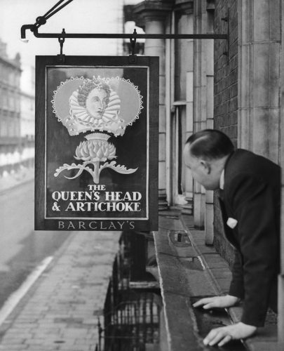 A new sign for the 'The Queen's Head and Artichoke' for Queen Elizabeth II's coronation